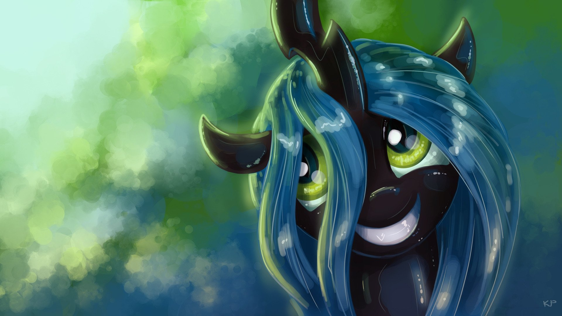 My little pony, Chrysalis, автор, улыбается, пони, KP-ShadowSquirrel