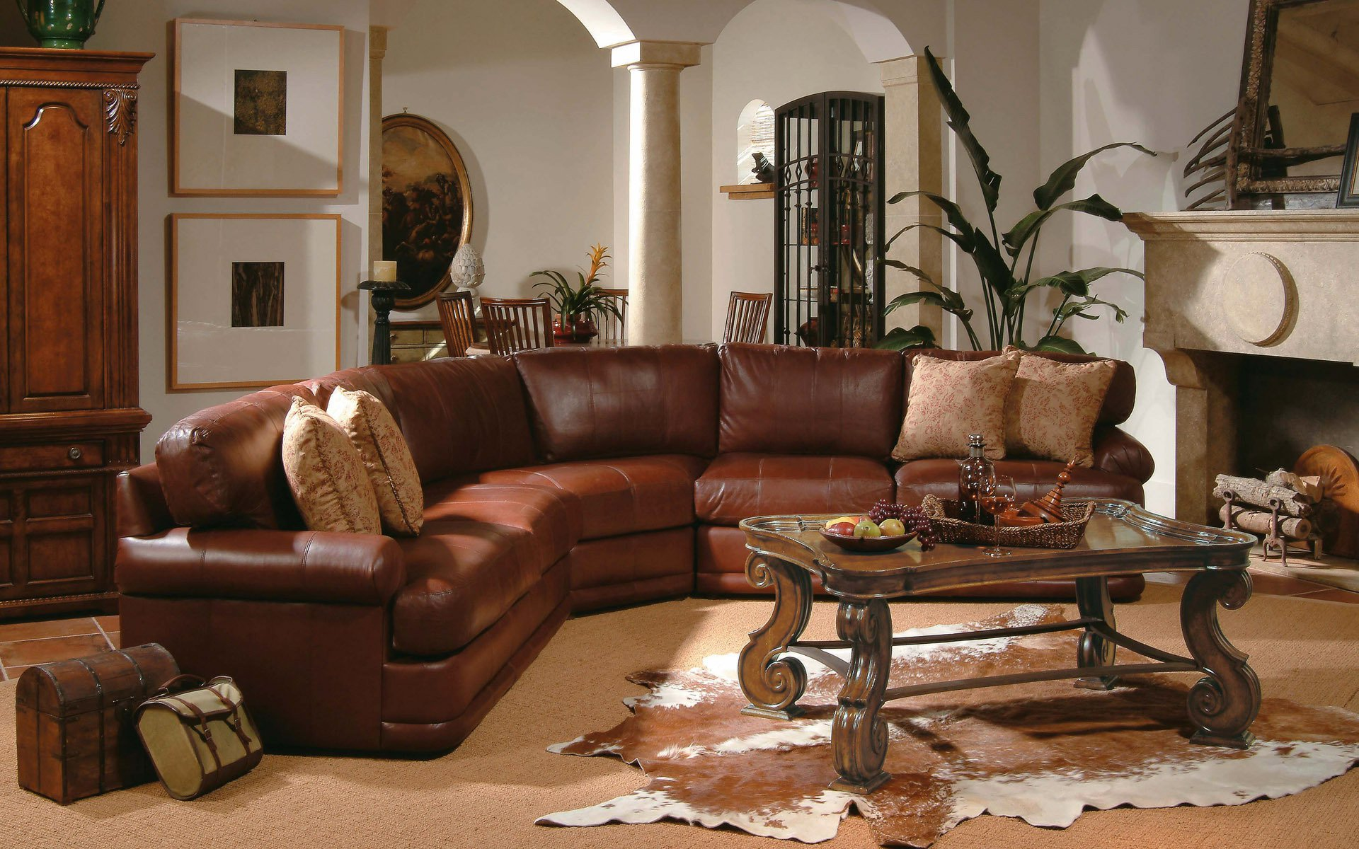 Living room brown sofa